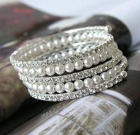 Wholesale 5 Rows Rhinestone Crystal Diamante Ivory Pearl Bridesmaid Bracelets Bangle Bridal Wedding Jewelry