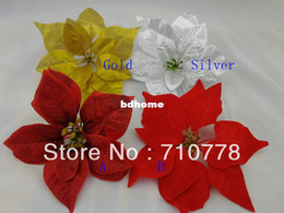 Wholesale 4Colors available Artificial fake flower material christmas flower poinsettia flower decoration