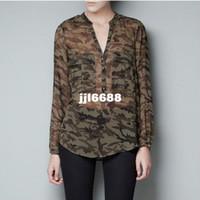 Dress Shirts Long Sleeve Acetate GOLD BUTTON V-NECK CAMOUFLAGE CHIFFON LONG SLEEVE SHIRT 3710
