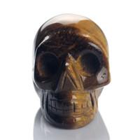 Wholesale Yellow Tiger eye Skull Stone Carved Crystal Chakra Skulls Crafts Figurine Healing Feng Shui Reki Free Pouch