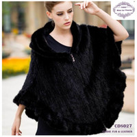ladies poncho - CDS027 Ladies Luxury knitted mink fur ponchos with hood for girls in Winter