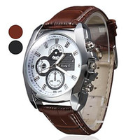 Wholesale New arrival Men s wirst watch PROMOTIONAL PRICE pc casual watch Men s Silver Case Leather Band Quartz Analog Wrist Watch