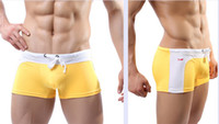 Cheap Fashion new men's boxer swim trunks swimming trunks sexy low-waist pants tether