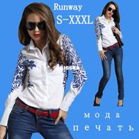 Wholesale spring new women s flower print white long sleeve porcelain Za s Polo top camisa shirt for summer plus size XXL XXXL