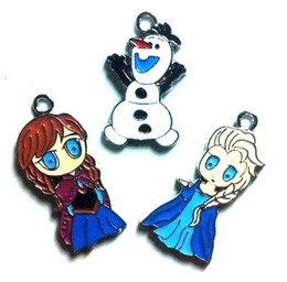 Wholesale New X Cartoon frozen Elsa Anna Olaf Metal Charms Pendants DIY Jewellery Making Fashion Gift