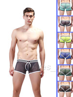 90% Polyamide+ 10 % Spandex Boxers Sexy New Hot Comfy Mens Mesh Boxer Briefs Sexy Men's Underwear Boxers Brief See-Through Low Waist Bulge Pouch Trunks Boy Shorts Bottoms S M L XL
