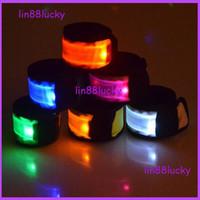 cheer gifts - LED Flashing Nylon Ribbon Slap Bracelet reflecitve Snap Wristband Gift led flashing bracelet for Cheer Chirsmas party