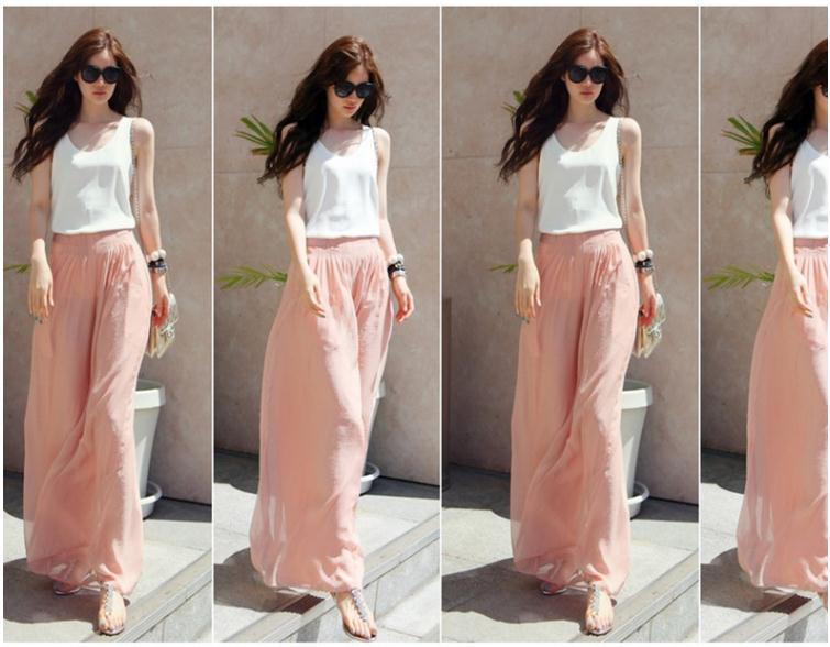 2017 Feminine Chiffon Wide Leg Skirt Pants Long Pants Skirts Wide ...