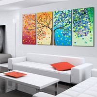 wall decor art canvas - 4 Piece Hand Painted The Season Tree Oil Painting Colorful Wall Art Canvas Picture Modern Abstract Home Decor Living Room Set