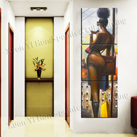 More Panel Oil Painting Fashion 3 Panels 100% Hand Paint Modern Oil Painting Woman Sexy Painting On Canvas Wall Art Modern Living Room Wall Home Decoration