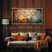 Wholesale Cheap Handpainted Canvas Wall Art Abstract Painting Modern Acrylic Flowers Home Decoration Palette Knife Oil Painting No Framed