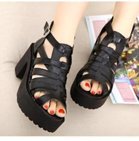Wholesale 2014 Summer Chunky Heel Sandals Sexy Women Gladiator Sandals Platform Hollow Out Muti Strappy Shoes Size to ePacket