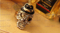 hat band - Hot Sale Europe and America Punk fashion accessories vintage skull black Hat rings Skull finger ring