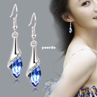 Wholesale Korean female Austrian crystal earrings Long earrings in sterling silver crystal jewelry Yiwu jewelry