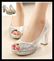 Women Pumps Summer 2014 glitter silver gold shoes chunky heel peep toe pumps 8cm sexy high heel wedding dress shoes prom gown shoes epacket free shipping