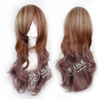 Cheap New arrival 3 color mix 75cm culy long synthetic party cosplay costume wig,heat resistance hair.Free shipping