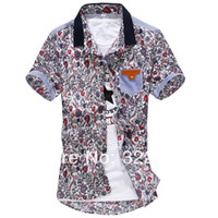 Men Cotton Short Sleeve man spring 2014 slim flower print short-sleeve shirt men's fashion brand shirt dudalina casual mens shirt