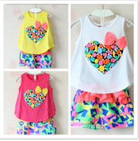 Girl Summer Sleeveless new 2014 Girls Children's summer clothing sets, love print ,(sleeveless T-shirt +shorts) baby girls clothing