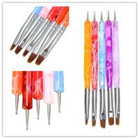 Gel Nail Brushes 3 Pcs Plastic Wholesale 5pcs 2-Ways Nail Art Design Tips Acrylic UV Gel Dotting Painting Brush Pen Set Nail Art Tips Painting Brush