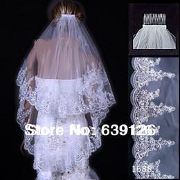 Wholesale New Wedding Accessories A Bridal Veil Two Layers White Ivory Comb Bridal Veil Beading Edge Wedding Veil Ivory Short Veil