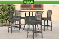 Wholesale Outdoor tables and chairs rattan garden furniture bar hotel arts high bar chairs bar chairs leisure chairs drinking coffee