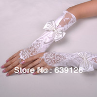 Wholesale Hot Sale New Top Quality Wedding Accessories White beige Satin Beaded Lace Bowknot Fingerless Gloves Bridal Glove Long