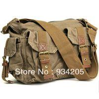 Wholesale 1PC Mens Khaki Canvas Leather Hobo Knapsack Satchel Messenger Shoulder Bags