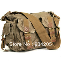 Wholesale 1PC Mens Khaki Canvas Leather Hobo Knapsack Satchel Messenger Shoulder Bags