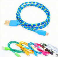 Wholesale Fabric braided micro usb V8 V9 CABLE wire Data Sync cloth Woven Fiber Knitted Colorful Nylon Cords for samsung s3 s4 htc one Z2