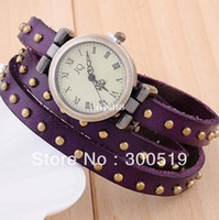 Wholesale JW001 Fashion Popular Round Rivets Rome Woman Watch Bracelet Watch Genuine Leather Band Watch