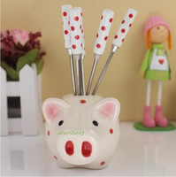 gift basket supplies - Factory Supply Creative Gifts Ceramic Stainless Steel Fruit Fork Cute Red Dot Fruit Fork Baskets Fedex