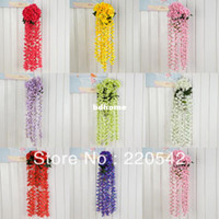 Wholesale 1Pcs cm Artificial Hydrangea Silk Flower Vine Wall Hanging Plant Wedding Garland HQ63