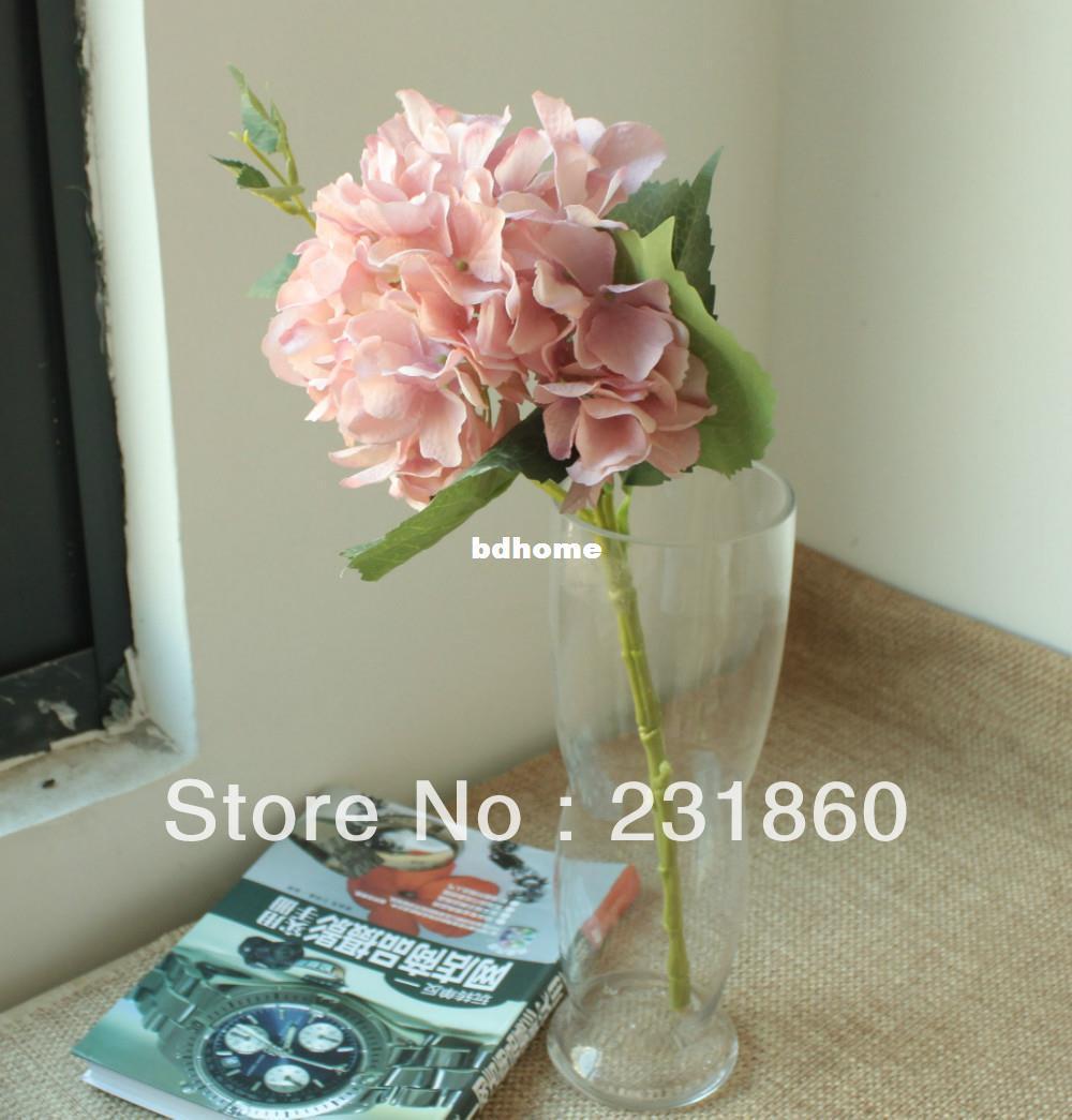Light pink artificial single stem hydrangea