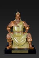Wholesale Exquisite Crafts Bronze Copper Ware Collection Of Chinese Ancient Hero Guan Yu Statue Combination Of Brass And Green Business Gift