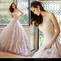 Wholesale 2014 Stunning Strapless Organza Beading Sweetheart Sofia Tolli Court Train Bridal Gown A Line Garden Lace Up Champange Wedding Dresses UM513