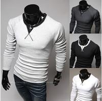 Wholesale Mens T Shirts Men Long sleeve T shirt Men neckline design mixed colors Slim Korean long sleeved T shirt