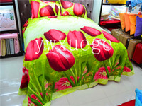 Cheap Polyester / Cotton tulip bedding set Best Home Plain 3D tulip FLOWER printed