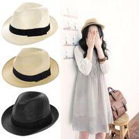 Wholesale S5Q Unisex Men Women Trilby Gangster Cap Summer Beach Sun Straw Panama Hat AAADEL