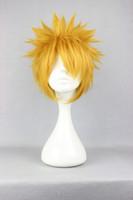 Brazilian Hair Ombre Color Synthetic Hair Free Shipping Cheap 35cm Short Naruto-Uzumaki Naruto Gold Anim Cosplay Costume Wig