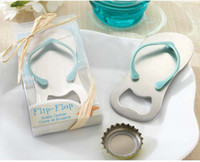 Promoción 100Pcs linda boda Favor flip-flop botella abridor zapatillas zapatos abrebotellas para Sandy beach tema boda #K08004