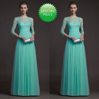 Reference Images Lace 3/4 Long Sleeve BH 2014 Floor Length Custom Made Watermelon Real Image Zuhair Murad Dresses For Sale Long Sleeve Turquoise Bridesmaid Dress