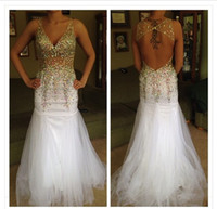 2014 White V neck crystal beads hollow back sheer prom dress...