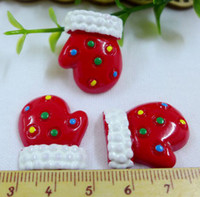 Resin Yes Artificial 50pcs lot Wholesale glove Resin Cabochon Flat Back Girls Hair Bow Center Making Boys Crafts Embellishments DIY 23*18mm