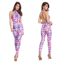 Polyester Sleeveless Long 2014 Stylish Printed Backless Evening Dress Cross Halter Jumpsuit Casual Pants Suit Women Club One Piece Bodysuits MKD0514