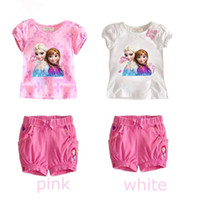 frozen tshirt - Cartoon Frozen Baby Clothing Pure Cotton Tshirt Shorts Girl Princess Suit Year Baby Kids Cartoon Sets set GX265