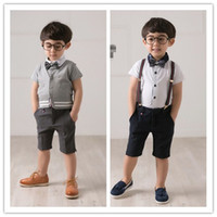Wholesale Summer Kids Boys Gentle Set Children s Short Sleeve Top Shorts Outfits Childs Clothing Casual Suspender Half Pants Suit Sets H0705