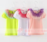 Girl Summer Standard 2014 Summer New Arrival Children Girls Solid Short Sleeve T-shirts Korean Kid's Cute 2 Layered Flouncing Mash Collar Tee Shirt I0765