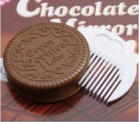 Wholesale EMS Cute cookie chocolate sandwich biscuit pocket mirror makeup chocolate comb K07877