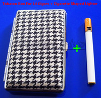 Square   New Stylish Elegant Pocket Leather Slim Cigarette Case Box Hold For 14 100mm Cigarettes And Lighter