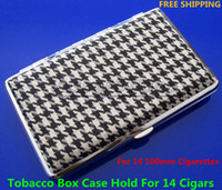 Square   10pcs lot New Stylish Elegant Pocket Leather Slim Cigarette Case Box Hold For 14 100mm Cigarettes And Lighter